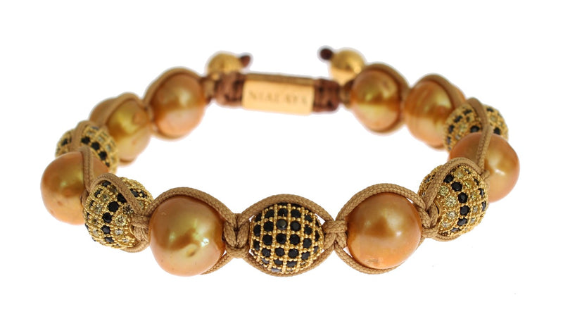 Clear CZ Pearls Gold 925 Silver Bracelet