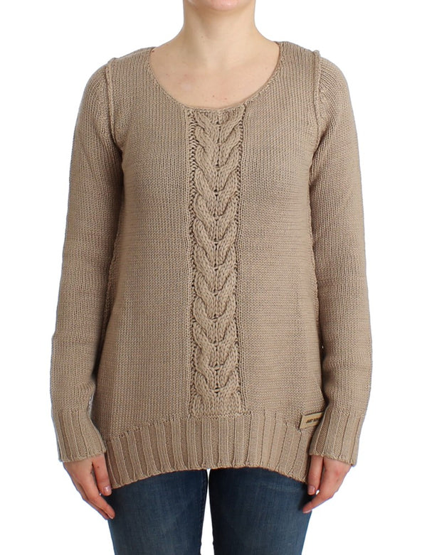 Beige knitted wool sweater