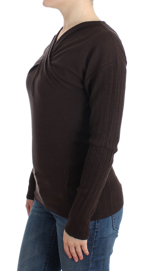 Brown knitted wool sweater