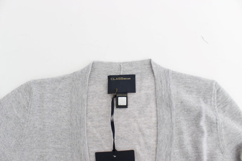 Gray cropped wool cardigan