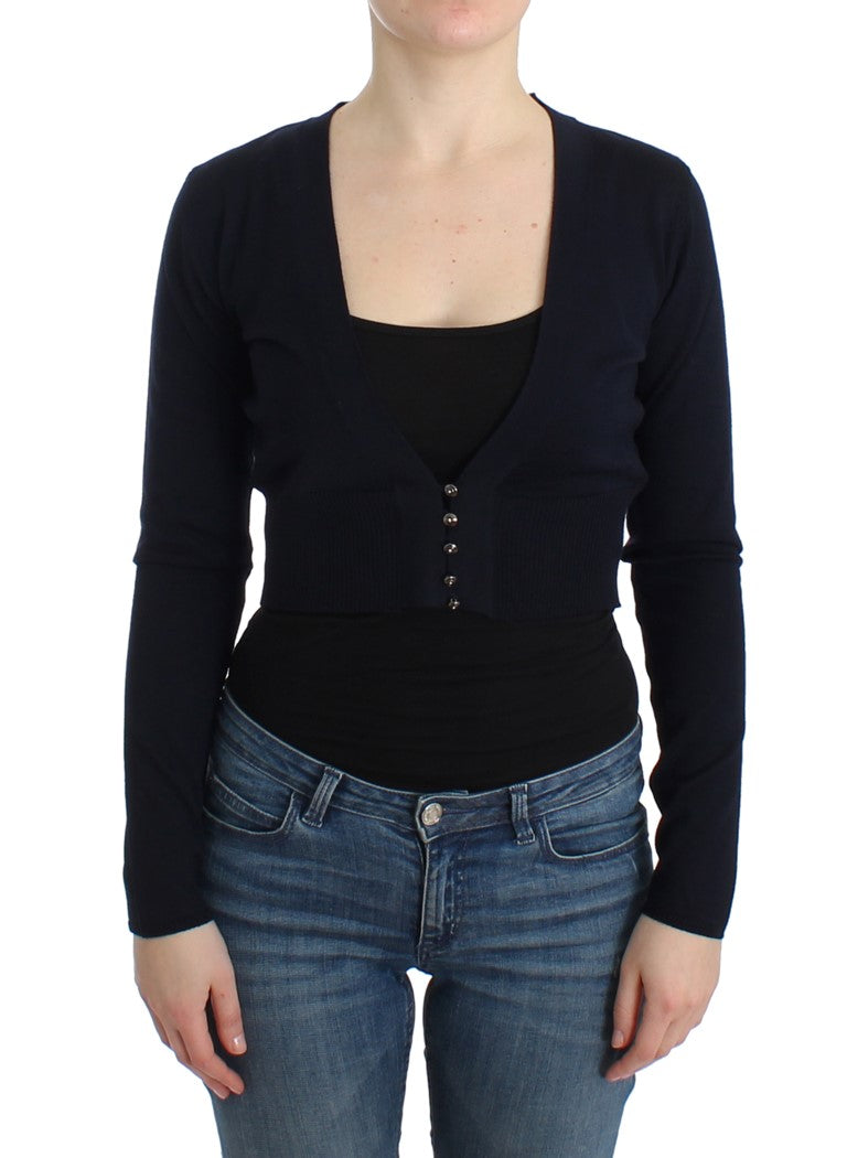 Black cropped wool cardigan