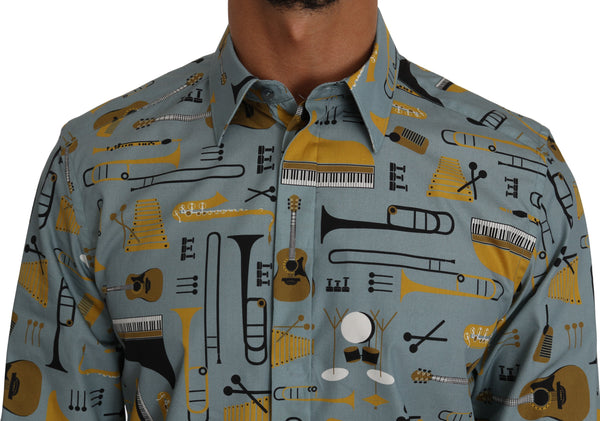 Blue Yellow Slim Fit GOLD Jazz Casual Shirt