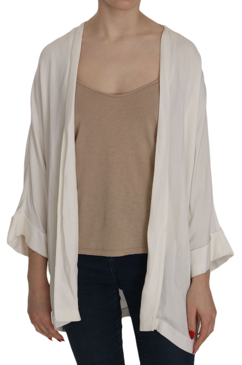 White Folded Long Sleeve Cardigan Deep Neck Blouse