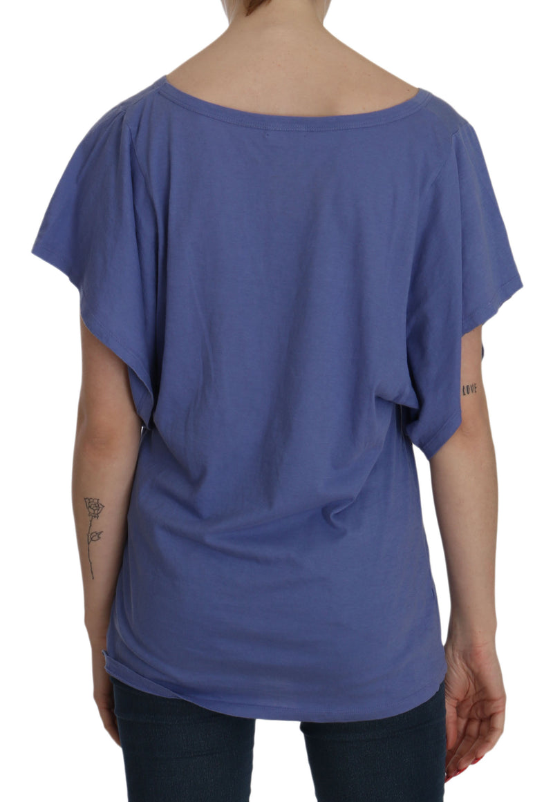 Blue Short Sleeve Round Neck Shirt Cotton Blouse