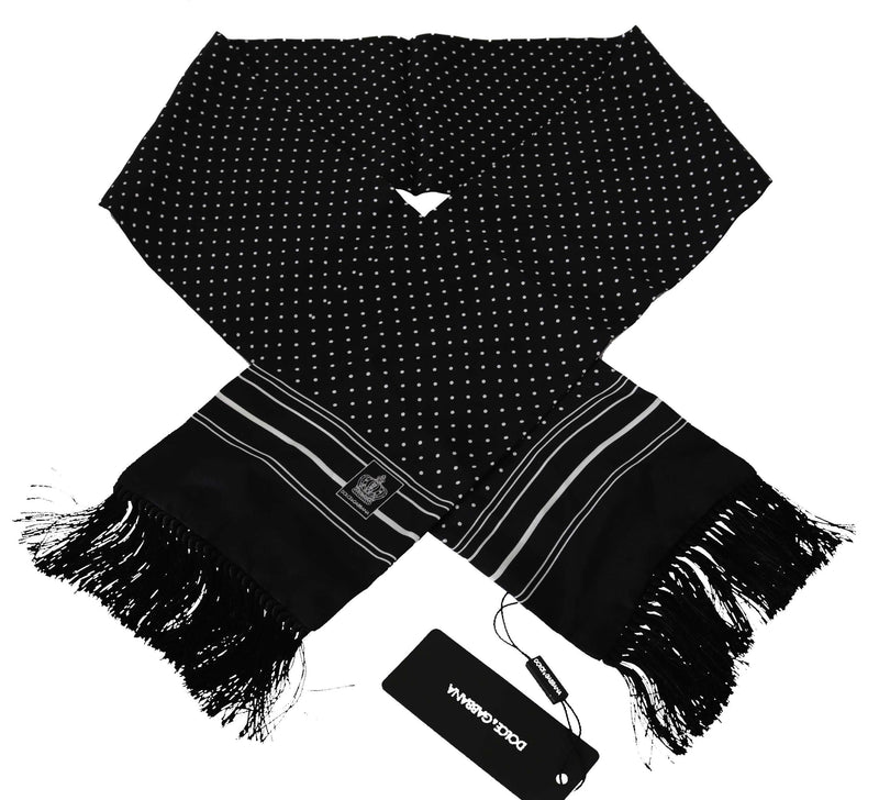 Black Polka Dot Print Crown Logo Mens Scarf