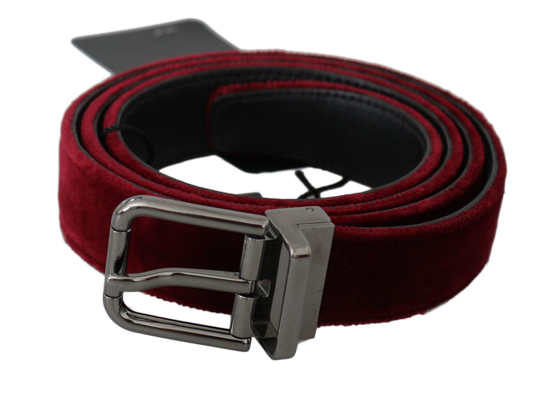 Bordeaux Velvet Polished Silver Buckle Belt