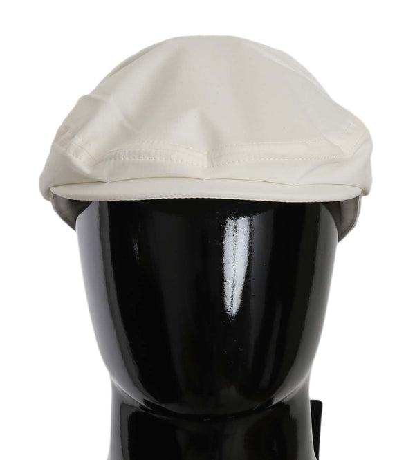 White Cotton Stretch Logo Newsboy Hat Cap