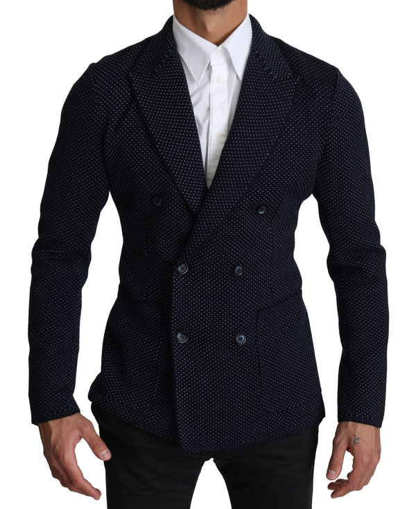 Dark Blue Dotted Double Breasted Coat Blazer