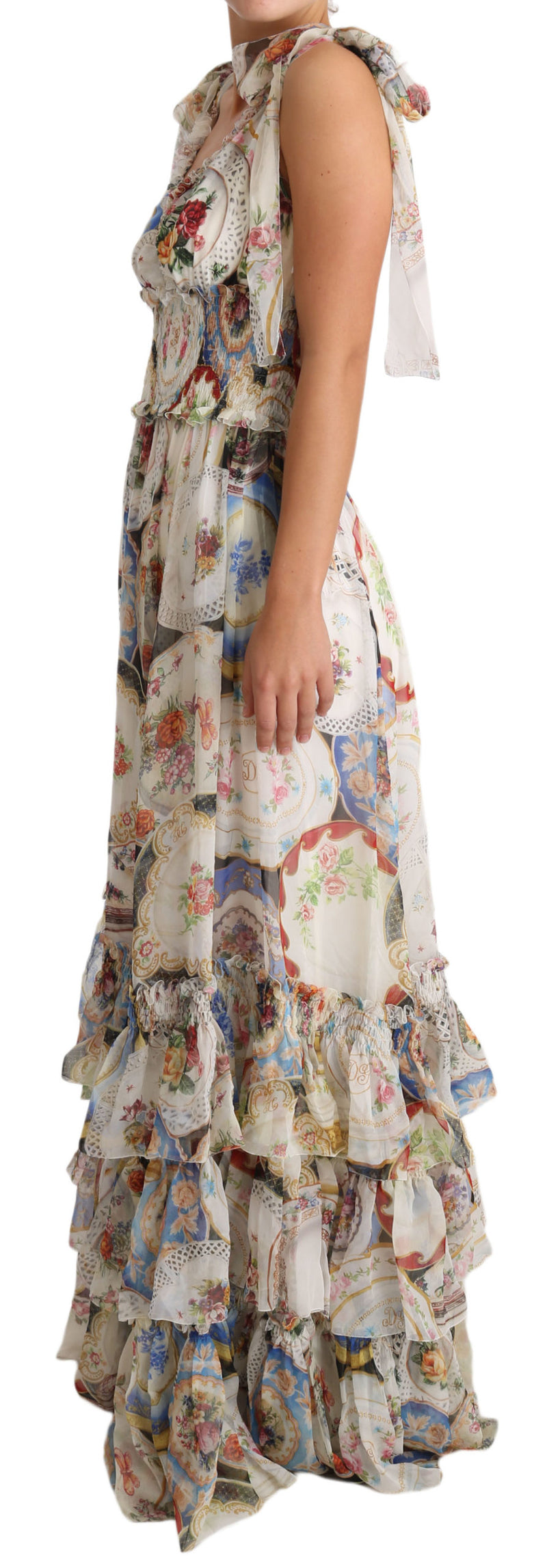 Silk White Floral Sleeveless Ruffle Dress
