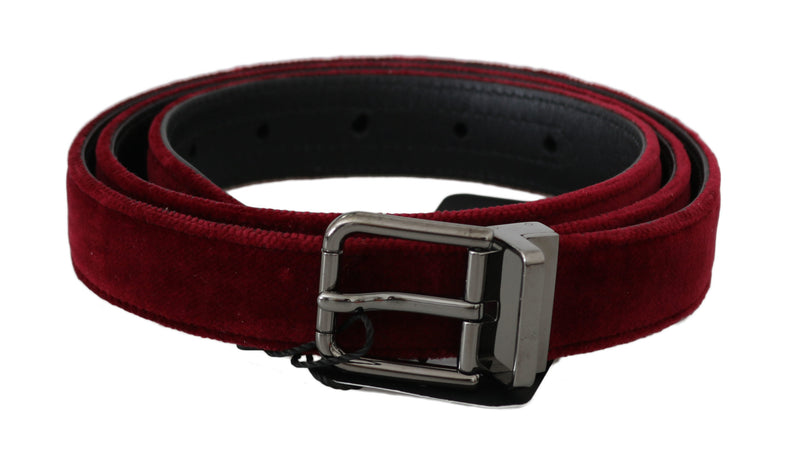 Red Velvet Polished Silver Buckle Belt
