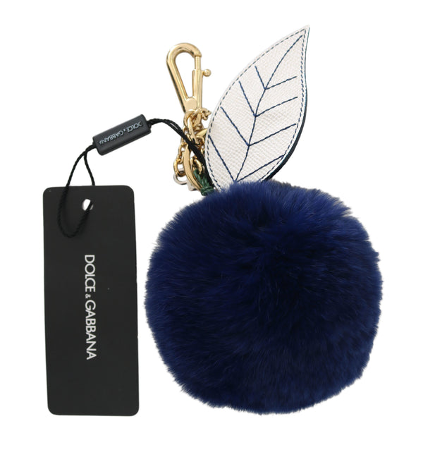 White Leather Blue Fur Gold Clasp Keyring Keychain