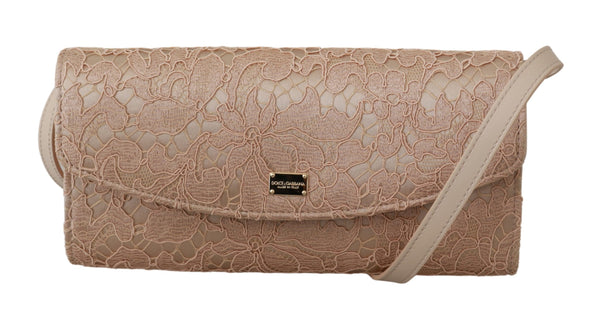 Cream Floral Lace Evening Long Clutch Borse Cotton Bag