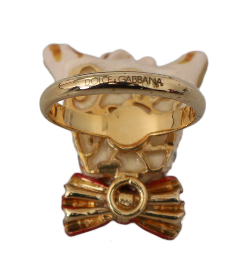 Gold Brass Resin Beige Dog Pet Branded Accessory Ring