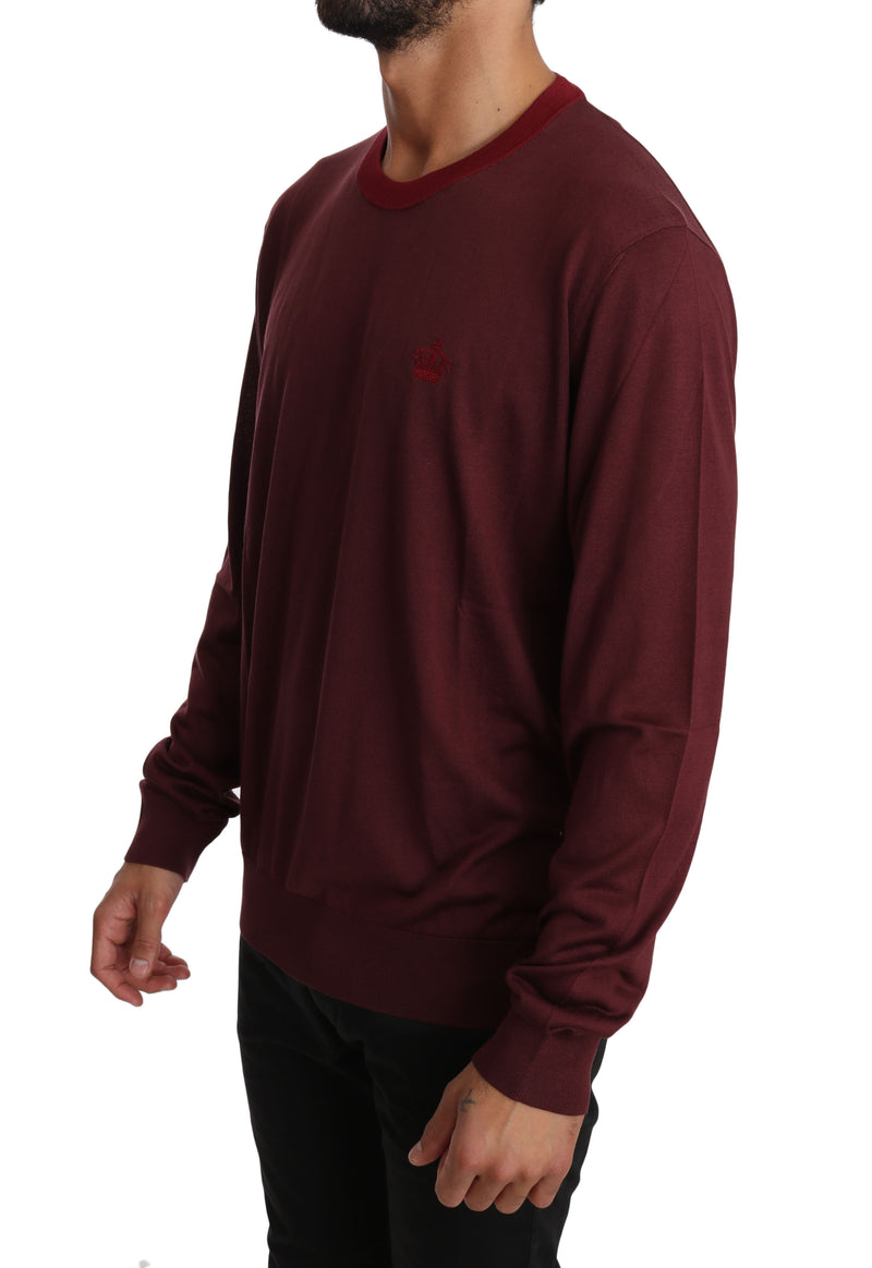 Bordeaux Silk Crewneck Crown Sweater