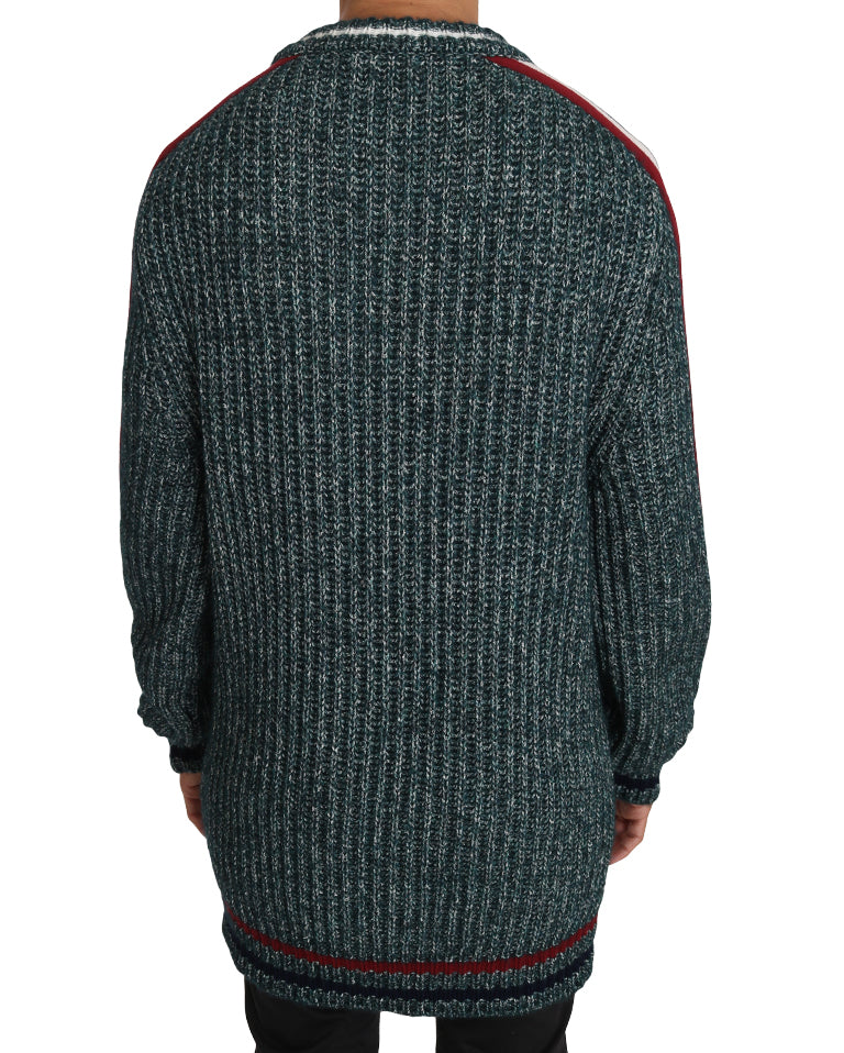 Green Knit Wool Crewneck Pullover Sweater