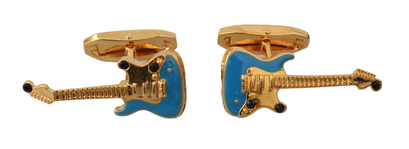 Gold Blue Brass Music Guitar Brand Accessory Cufflinks