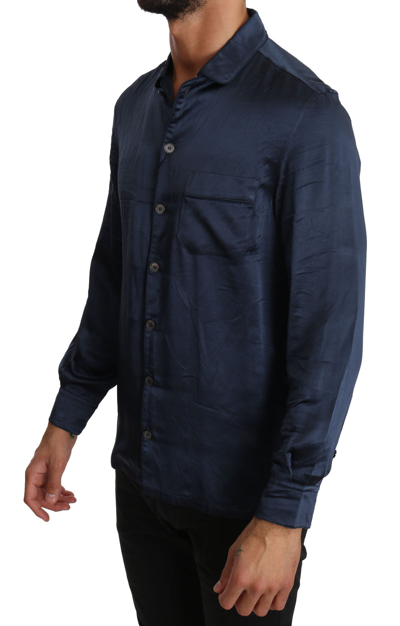 Blue Silk Casual Lounge Shirt
