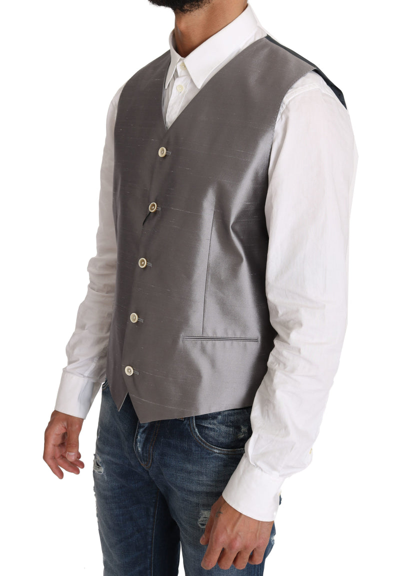 Silver Silk Blend Dress Vest Blazer Vest