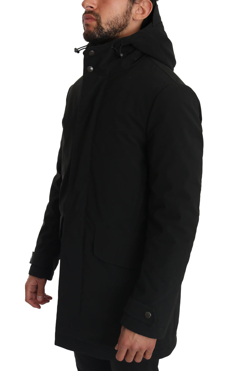 Solid Black Logo Hooded coat