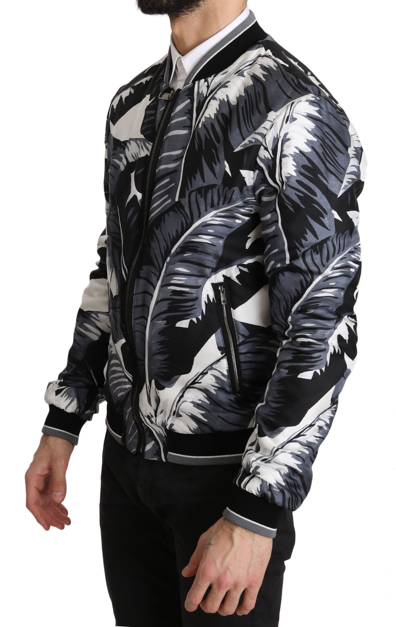 Silk Banana Leaf Print Bomber Jacket