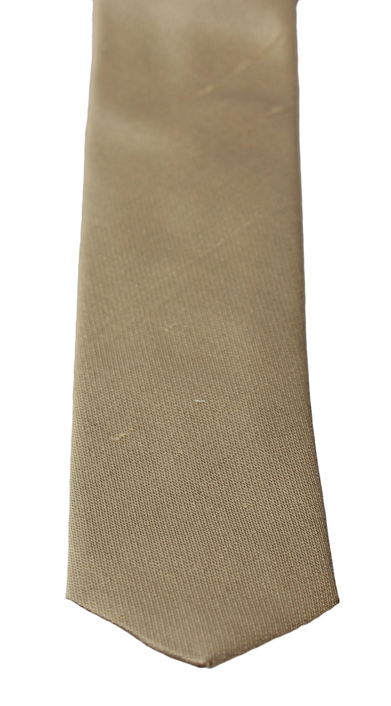 Solid Light Brown 100% Silk Classic Wide Necktie Tie