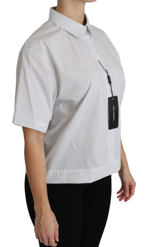 White Collared Short Sleeve Polo Shirt Top