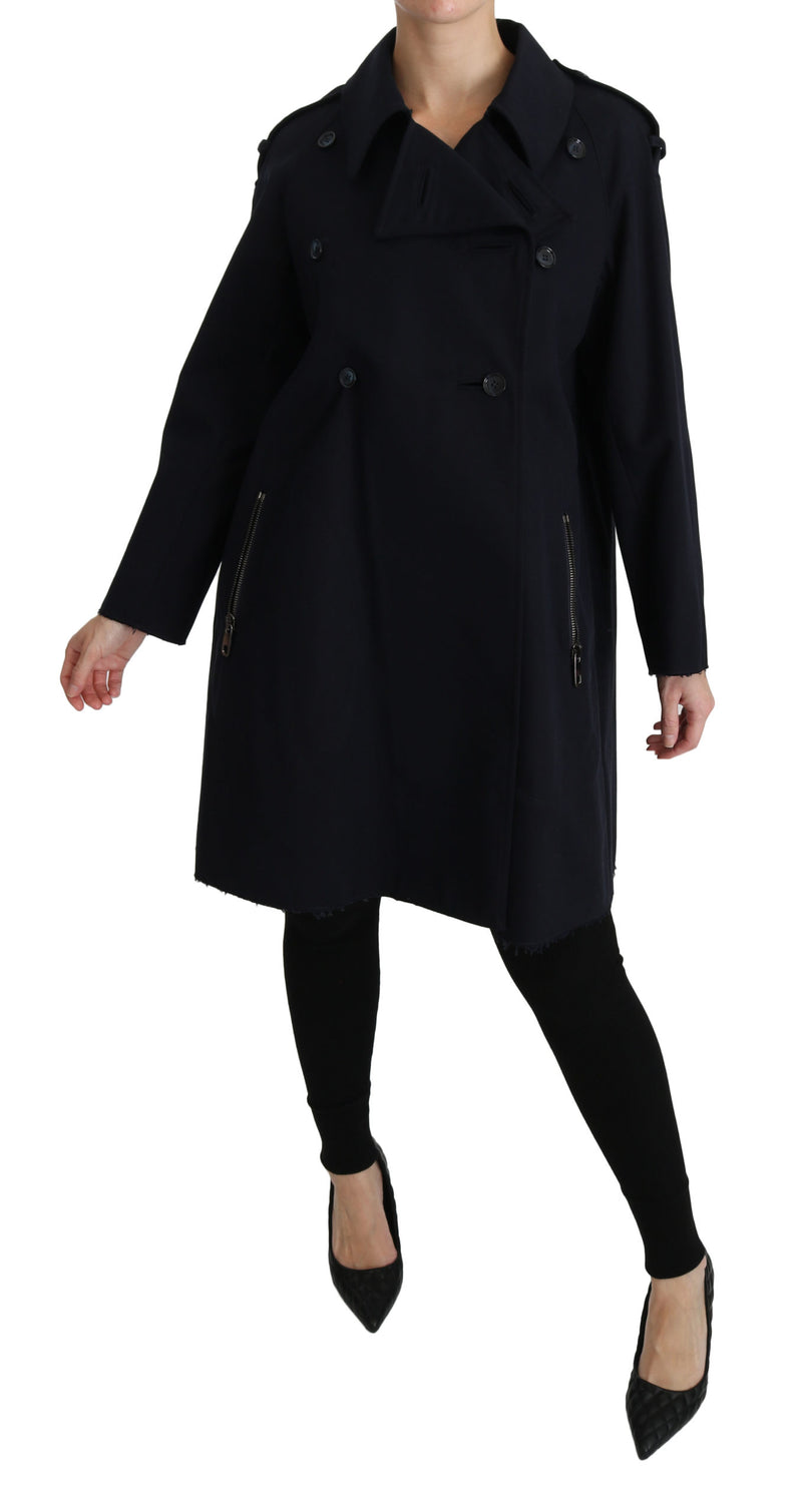 Coat Blue Cotton Women Trench Jacket