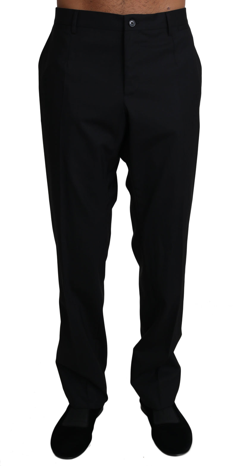 Black Wool Stretch Dress Trousers Pants