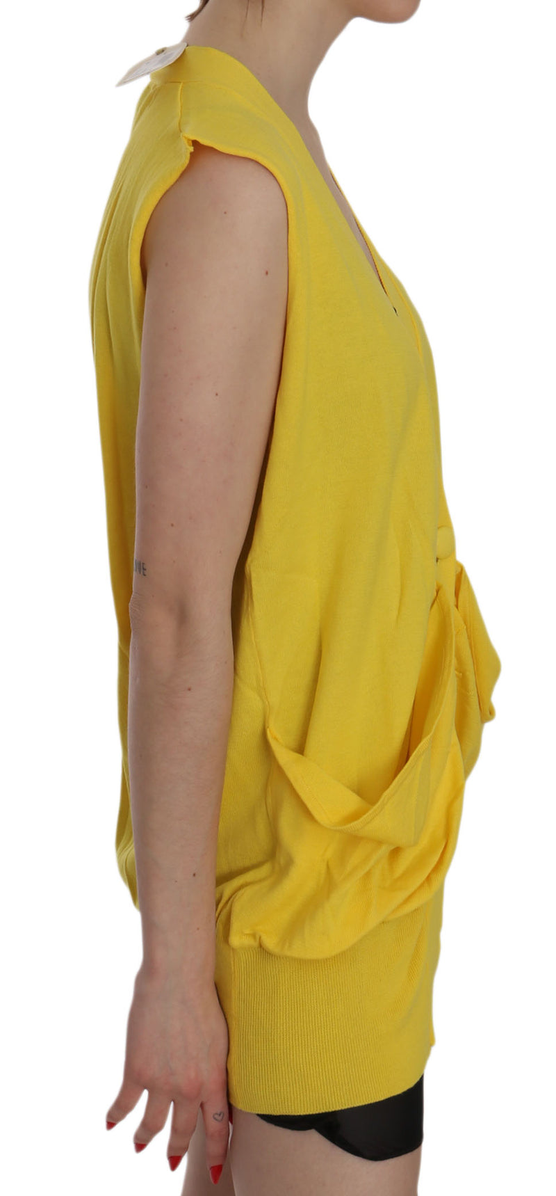 Yellow 100% Cotton Sleeveless Cardigan Top Vest