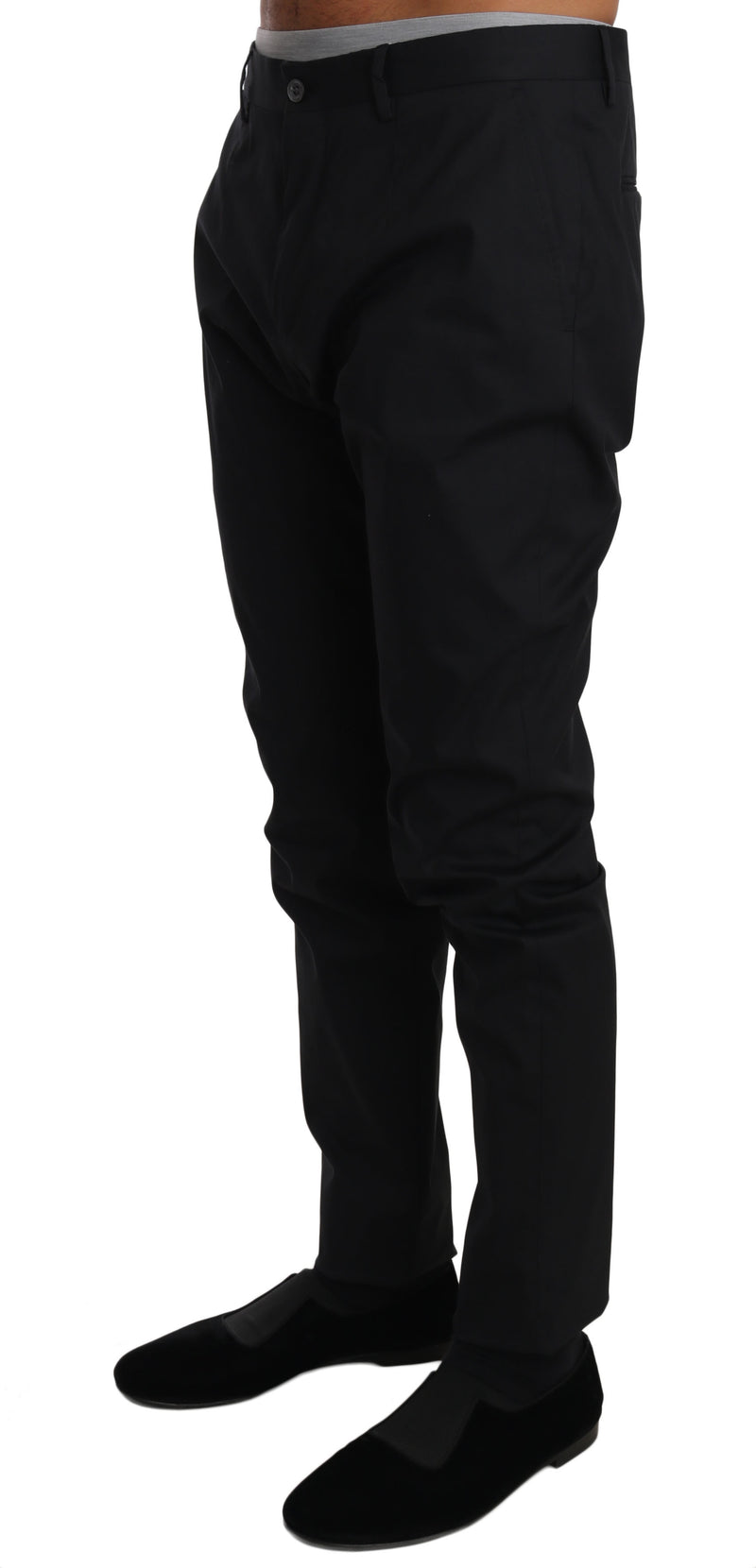 Black Cotton Stretch Formal Trousers Pants