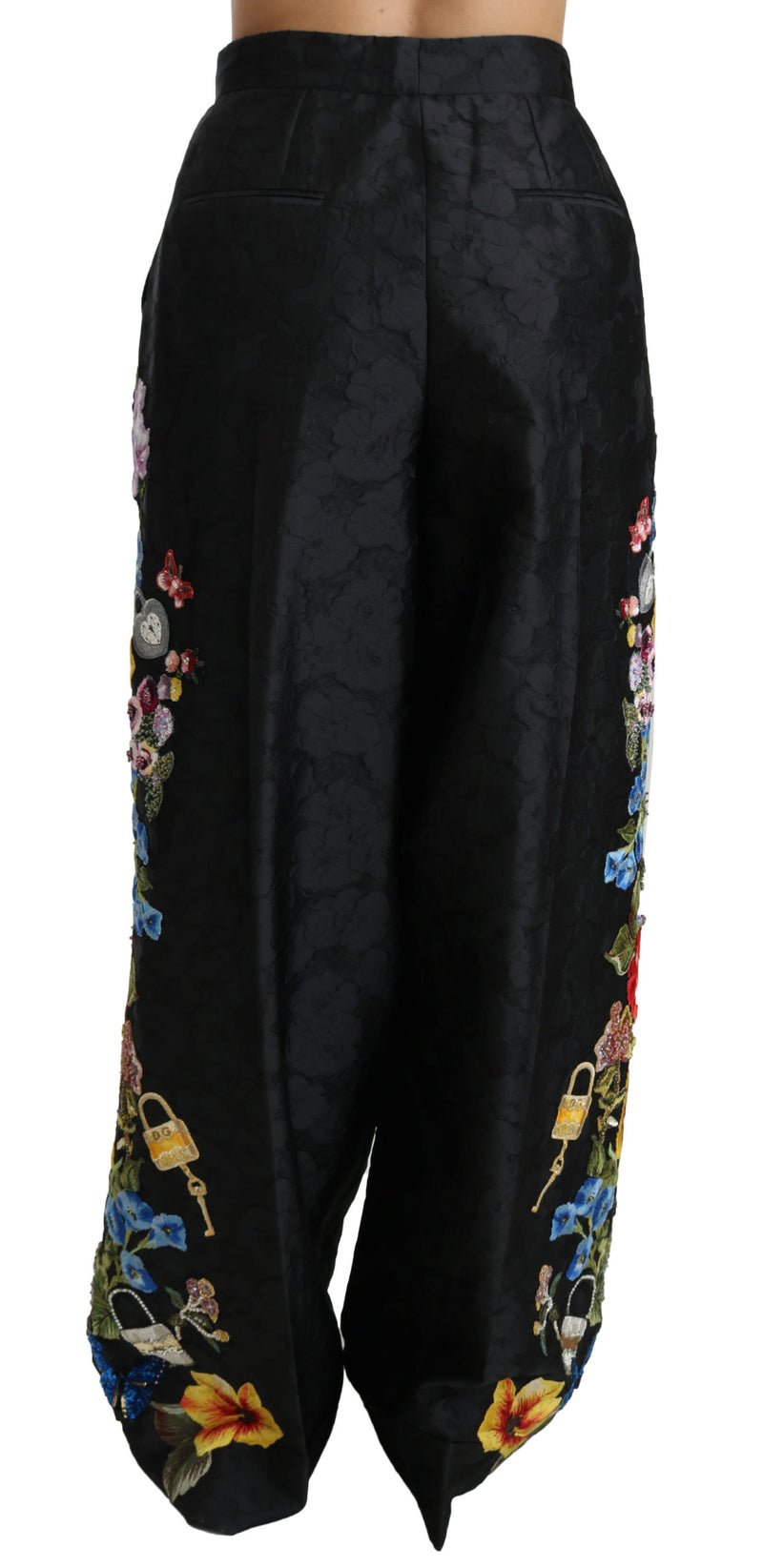 Black Brocade Floral Sequined Beaded Pants