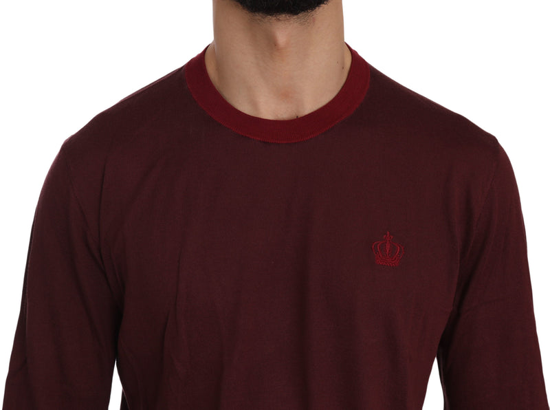 Maroon Crown Logo Crewneck Pullover Sweater