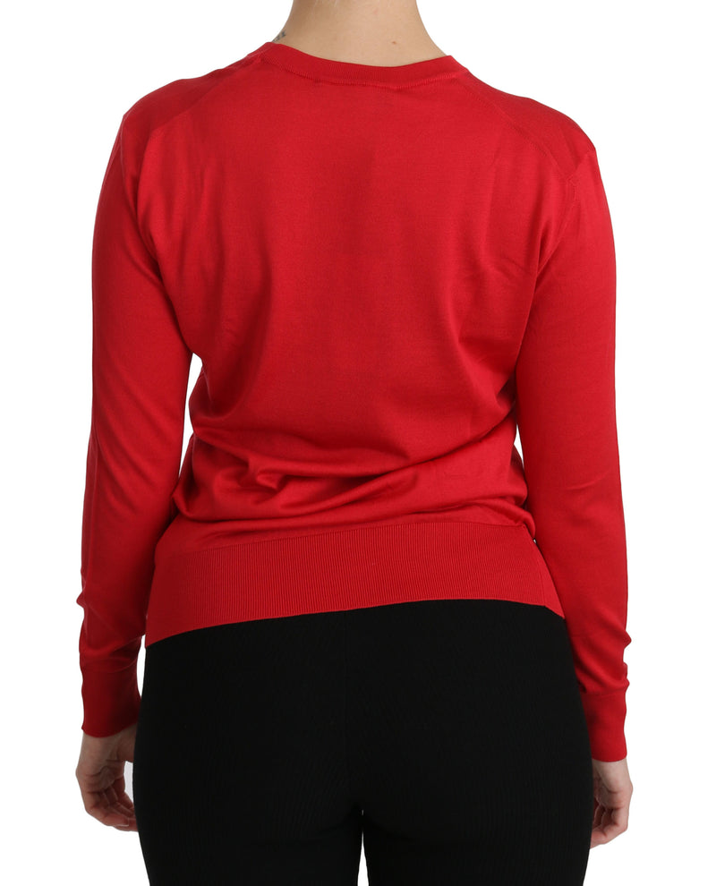 Red Crewneck Pullover Top Silk Sweater