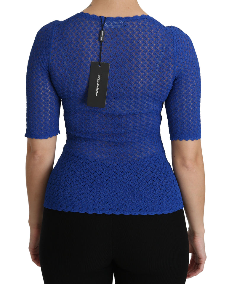 Blue See Through Round Neck Top Viscose Blouse