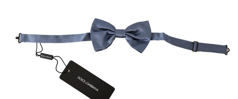 Blue Solid Mens Necktie Papillon 100% Silk  Bow Tie