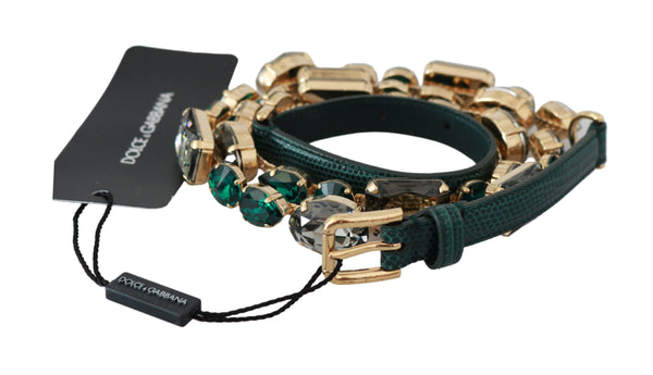 Leather Green Crystals Gold Brass Belt