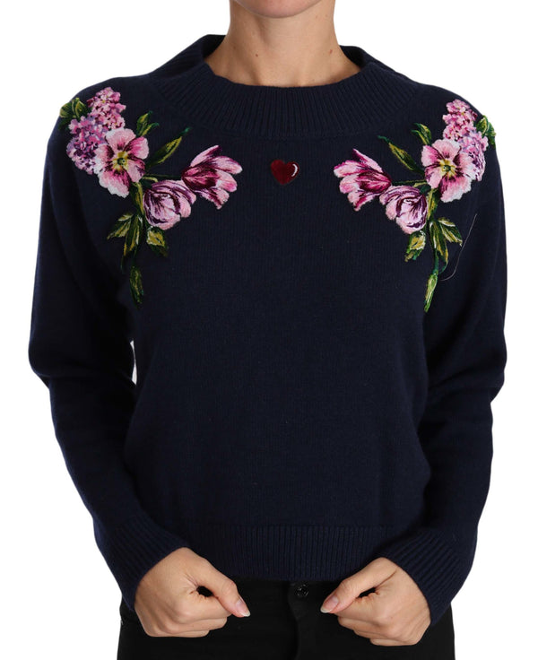 Blue Floral Embroidered Pullover Sweater