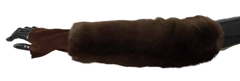 Brown Elbow Length Finger Less Fur Gloves