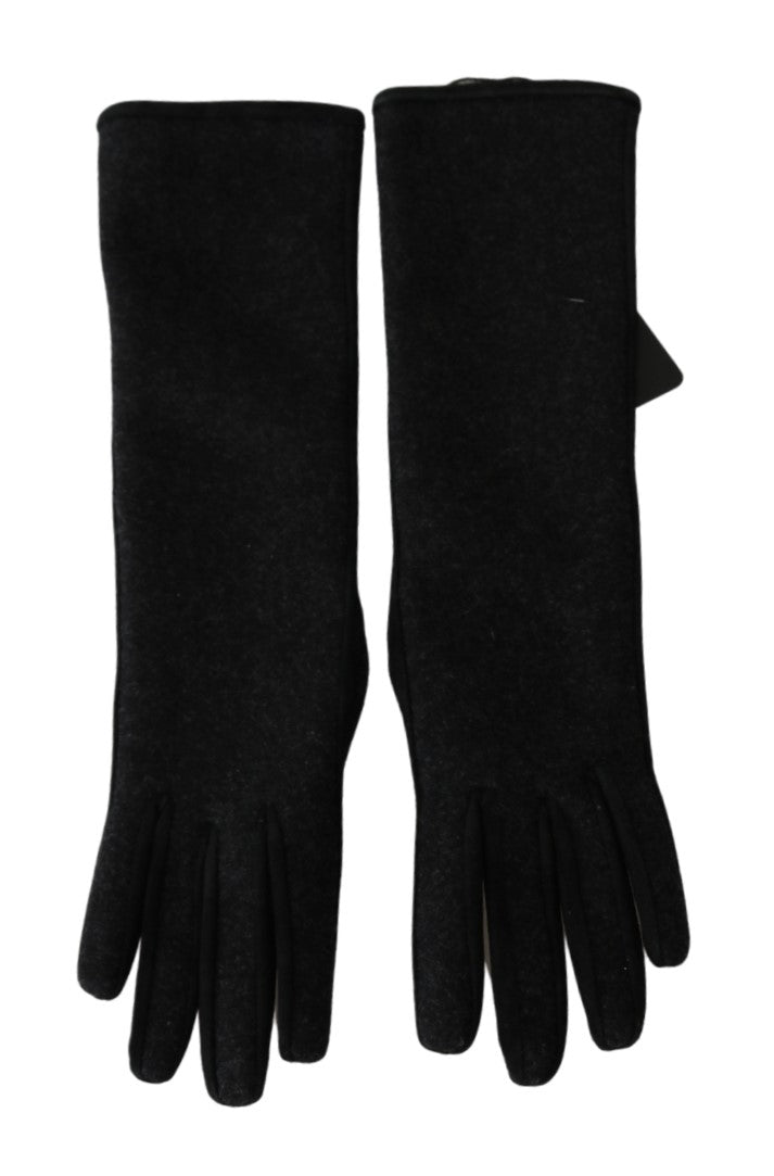 Black Gray Mid Arm Length Mittens Wool  Gloves