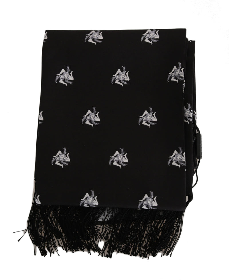 Black Silk Crown Fringes Mens Wrap 130cm x 15cm Scarf