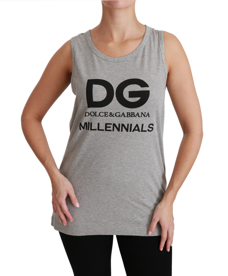 Gray DG Millennial Sleeveless Cotton T-shirt