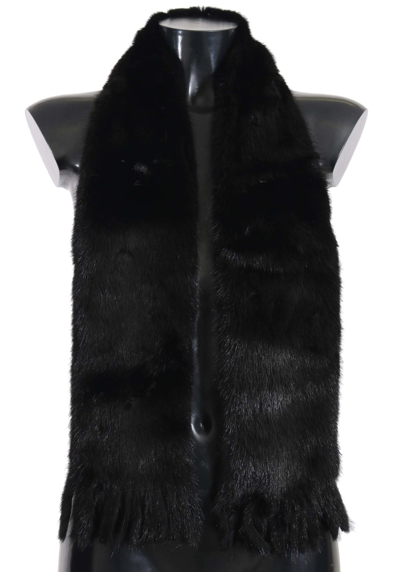 Mink Fur Shawl Scarf Brown and Black Wrap Collar 12x140cm Scarf