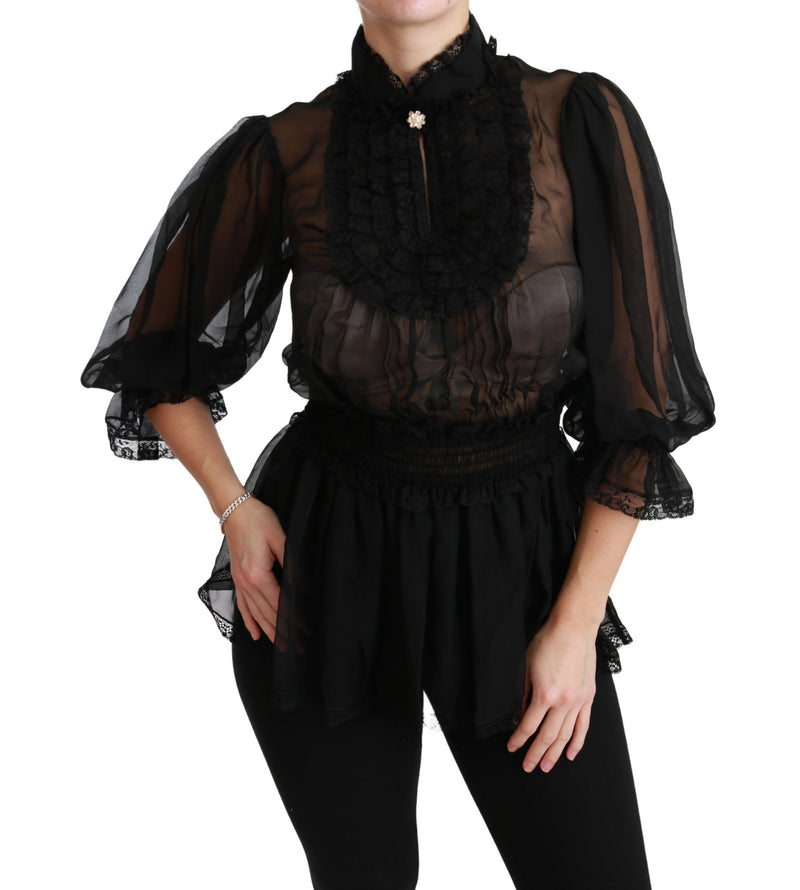 Black Lace Sheer Blouse Shirt Silk Top