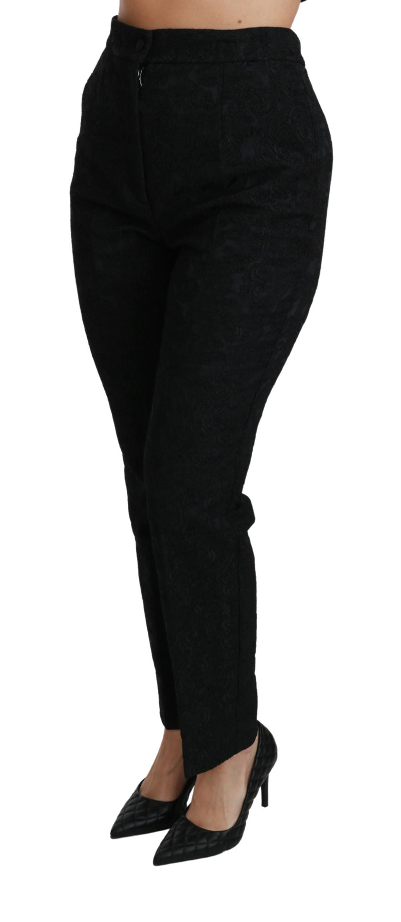 Black Tapered High Waist Brocade Pants