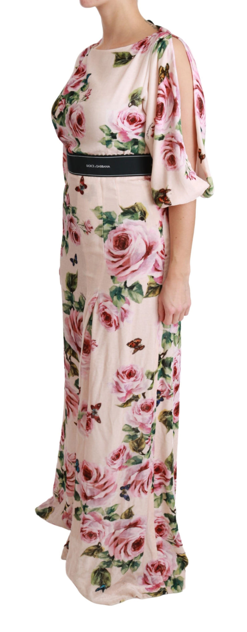 Pink Roses Butterfly DG Logo Slit Dress