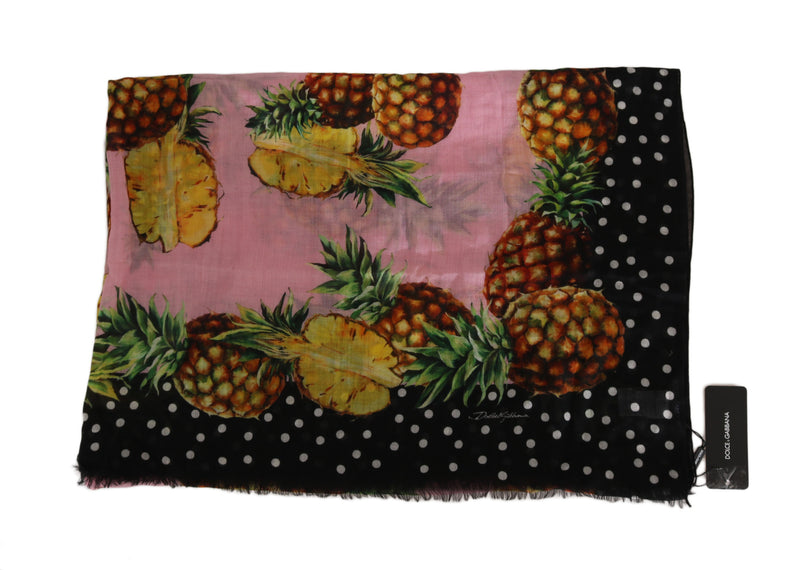 Black Pink Pineapple Cashmere Shawl Dot 140cm X200 Scarf