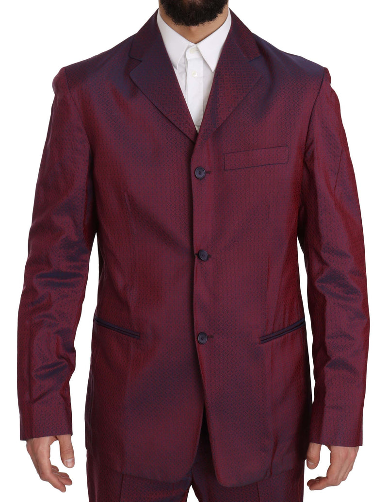 Two Piece 3 Button Bordeaux Patterned Suit