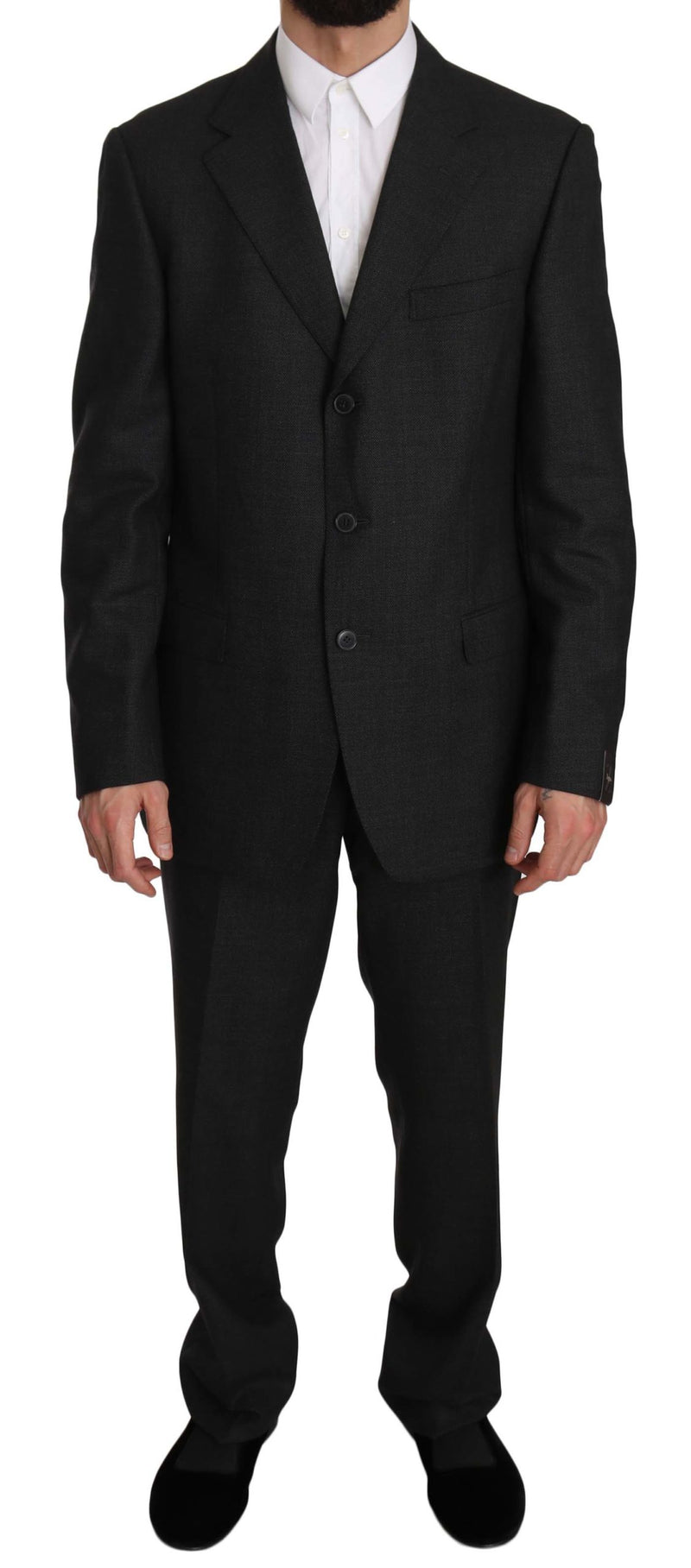 Wool Black Gray Two Piece 3 Button Suit