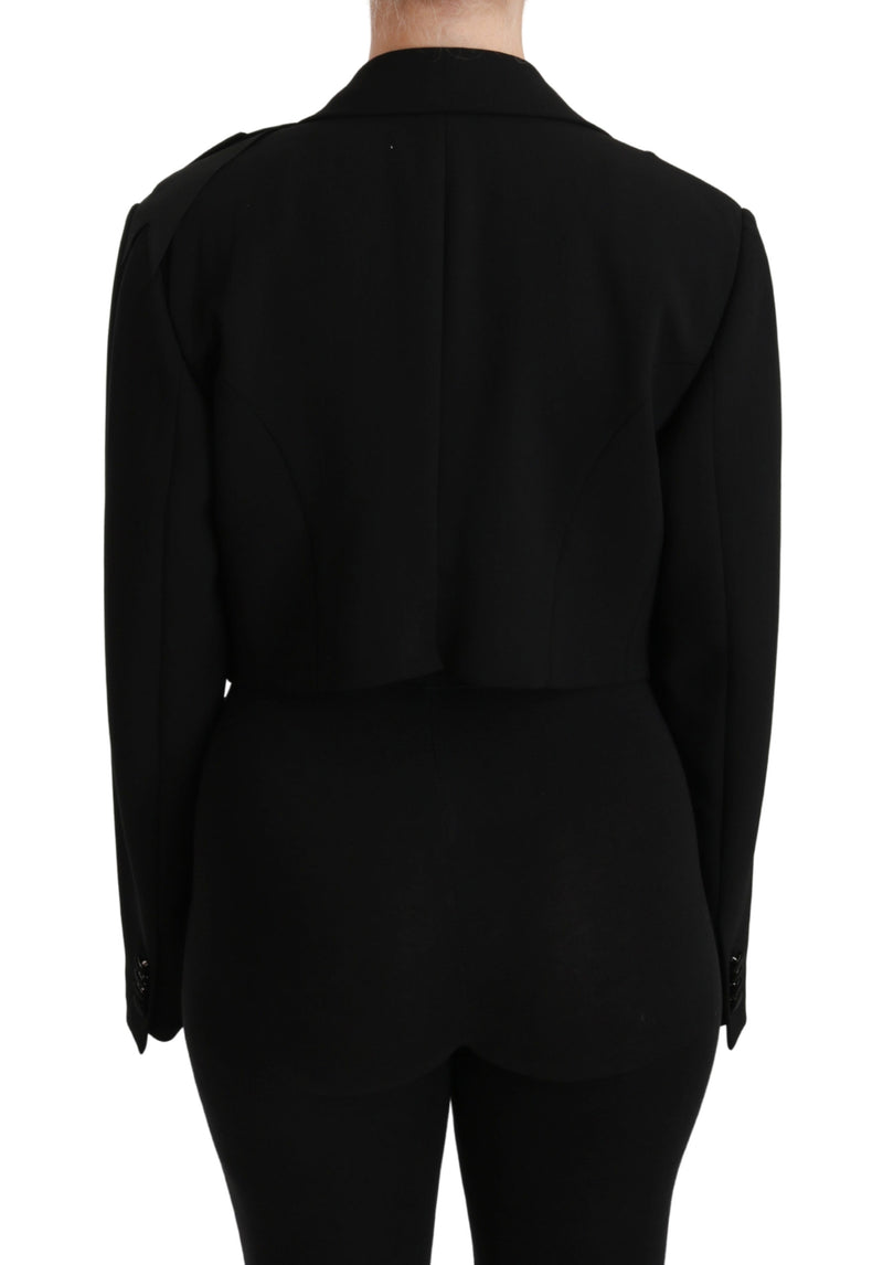 Black Cropped Blazer Coat  Wool Stretch Jacket