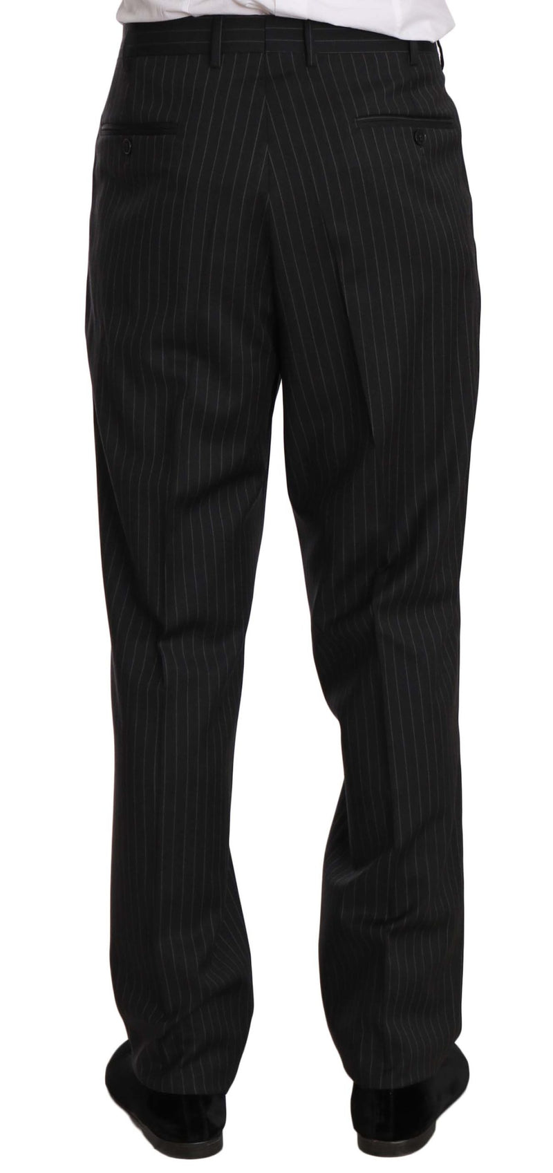 Black Striped Two Piece 3 Button 100% Wool Suit